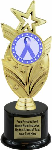 "8 3/4"" Periwinkle Ribbon Awareness Trophy Kit with Pedestal Base"