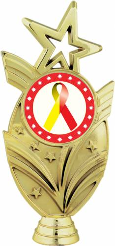 "Gold 6 3/4"" Red Yellow Ribbon Awareness Trophy Figure"