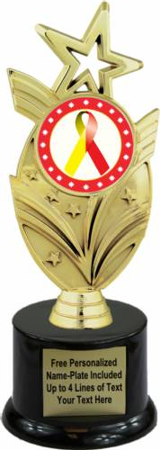 "8 3/4"" Red Yellow Ribbon Awareness Trophy Kit with Pedestal Base"