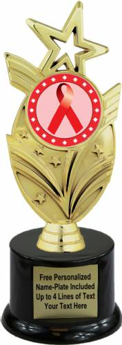 "8 3/4"" Red Ribbon Awareness Trophy Kit with Pedestal Base"
