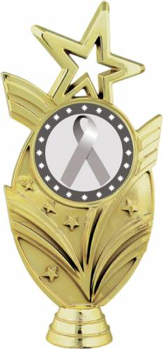 "Gold 6 3/4"" Silver Ribbon Awareness Trophy Figure"