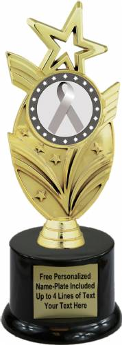 "8 3/4"" Silver Ribbon Awareness Trophy Kit with Pedestal Base"