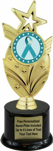 "8 3/4"" Teal Ribbon Awareness Trophy Kit with Pedestal Base"