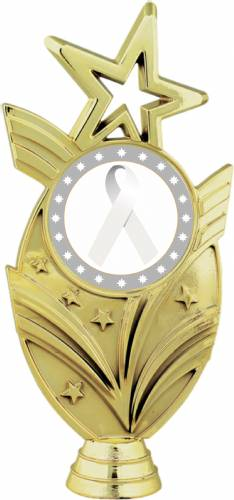 "Gold 6 3/4"" White Ribbon Awareness Trophy Figure"