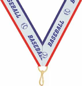 "7/8"" X 32"" Baseball Neck Ribbon with Snap Clip"