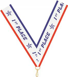 "7/8"" X 32"" 1st Place Neck Ribbon with Snap Clip"