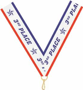 "7/8"" X 32"" 3rd Place Neck Ribbon with Snap Clip"