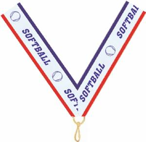 "7/8"" X 32"" Softball Neck Ribbon with Snap Clip"