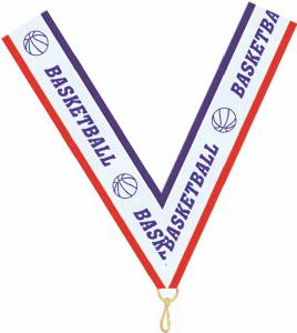 "1 1/2"" X 32"" Basketball Neck Ribbon with Snap Clip"