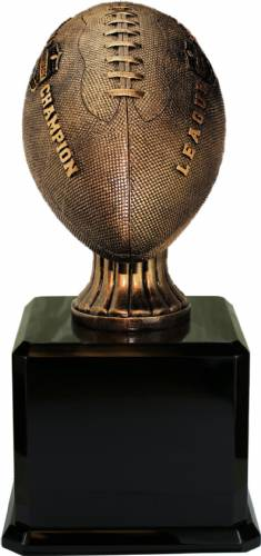 "17"" Antique Lifesize Football Resin Trophy Black Base"