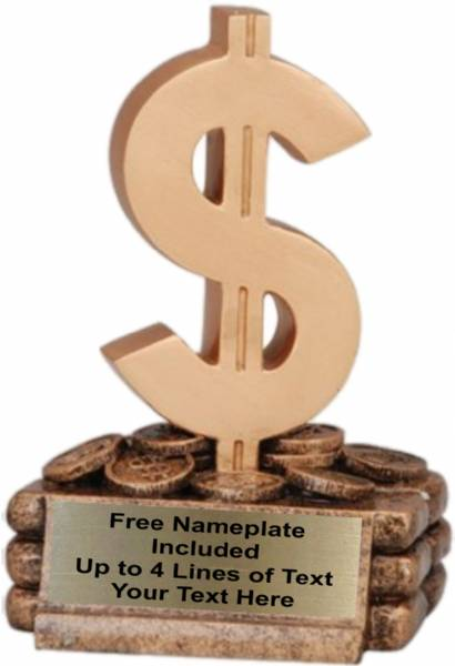 "5 3/4"" Gold Dollar Sign Resin Trophy"