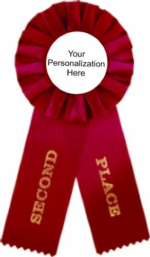 Red 2nd Place Rosette Ribbon with Custom Insert