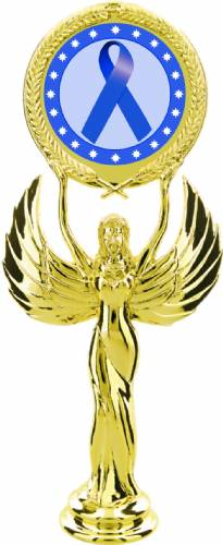 "Gold 7 1/2"" Dark Blue Ribbon Awareness Trophy Figure"