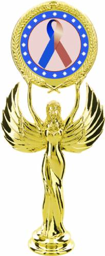 "Gold 7 1/2"" Dark Blue Brown Ribbon Awareness Trophy Figure"