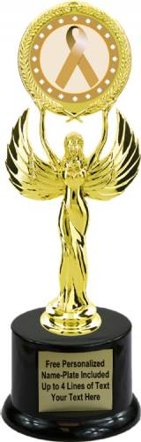 "9 1/2"" Gold Ribbon Awareness Trophy Kit with Pedestal Base"