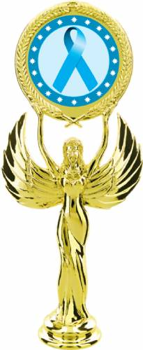 "Gold 7 1/2"" Light Blue Ribbon Awareness Trophy Figure"