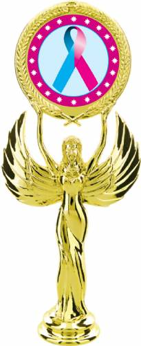 "Gold 7 1/2"" Light Blue Pink Ribbon Awareness Trophy Figure"