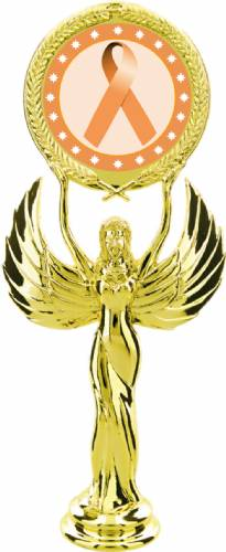 "Gold 7 1/2"" Peach Ribbon Awareness Trophy Figure"