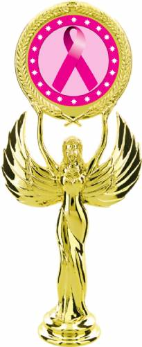 "Gold 7 1/2"" Pink Ribbon Awareness Trophy Figure"