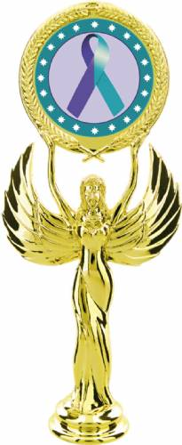 "Gold 7 1/2"" Purple Teal Ribbon Awareness Trophy Figure"