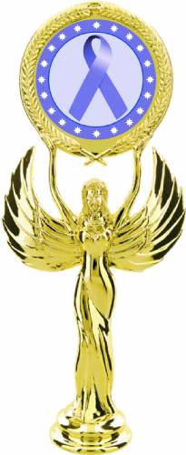 "Gold 7 1/2"" Periwinkle Ribbon Awareness Trophy Figure"