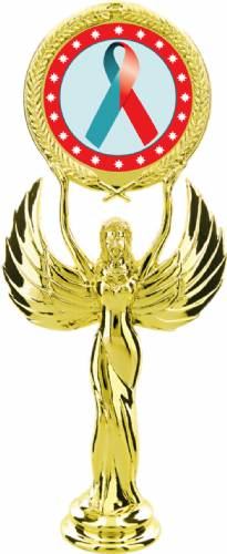 "Gold 7 1/2"" Red Teal Ribbon Awareness Trophy Figure"