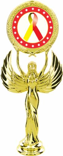 "Gold 7 1/2"" Red Yellow Ribbon Awareness Trophy Figure"