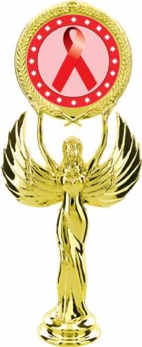"Gold 7 1/2"" Red Ribbon Awareness Trophy Figure"