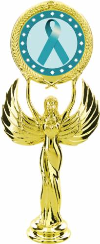 "Gold 7 1/2"" Teal Ribbon Awareness Trophy Figure"
