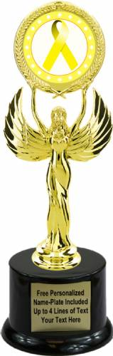 "9 1/2"" Yellow Ribbon Awareness Trophy Kit with Pedestal Base"