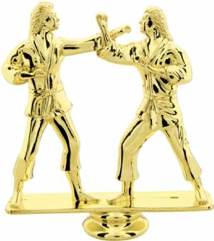 "Gold 5"" Female Double Action Karate Trophy Figure"