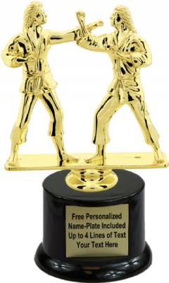 "7"" Female Double Action Karate Trophy Kit with Pedestal Base"