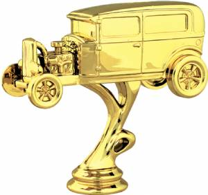 "Gold 4-1/2"" Hot Rod/Open Hood Car Trophy Figure"