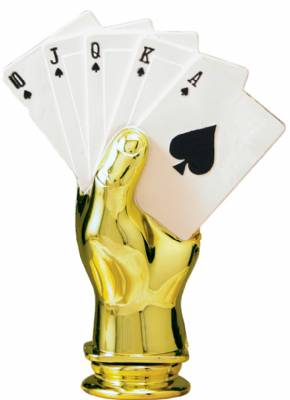 "Color 5"" Poker Hand Trophy Figure"