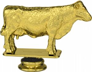 "Gold 3-1/2"" Hereford Cow Trophy Figure"