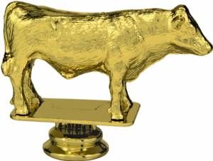 "Gold 3-1/2"" Dairy Bull Trophy Figure"