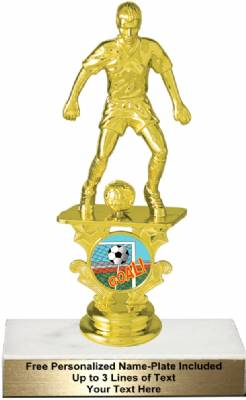 "6 1/4"" Male Soccer Motion Graphic Trophy Kit"