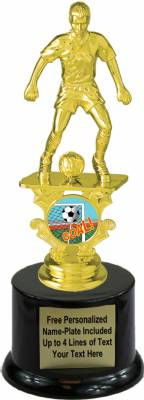 "7 1/2"" Male Soccer Motion Graphic Trophy Kit with  Pedestal Base"