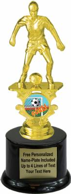 "7 1/2"" Female Soccer Motion Graphic Trophy Kit with  Pedestal Base"