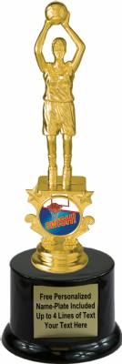 "8 1/4"" Female Basketball Motion Graphic Trophy Kit with Pedestal Base"