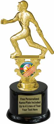 "7 1/2"" Male Baseball Motion Graphic Trophy Kit with Pedestal Base"