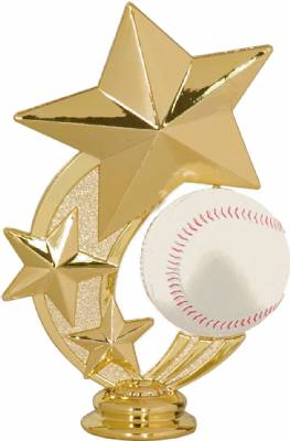 "5 1/4"" Baseball 3 Star Spinning Trophy Figure"