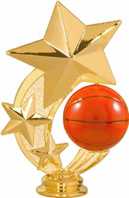 "5 1/4"" Basketball 3 Star Spinning Trophy Figure"