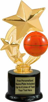 "7 1/4"" Basketball Star Spinning Trophy Kit with Pedestal Base"