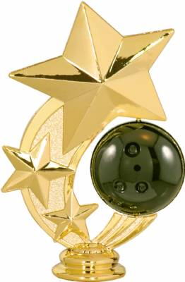 "5 1/4"" Bowling 3 Star Spinning Trophy Figure"