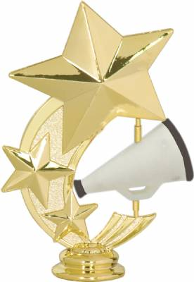 "5 1/4"" Cheerleading 3 Star Spinning Trophy Figure"