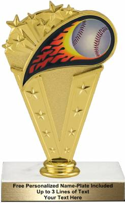 "Colored Flame 6 3/4"" Baseball Trophy Kit"