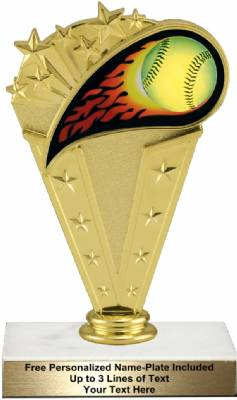 "6 3/4"" Colored Flame Softball Trophy Kit"