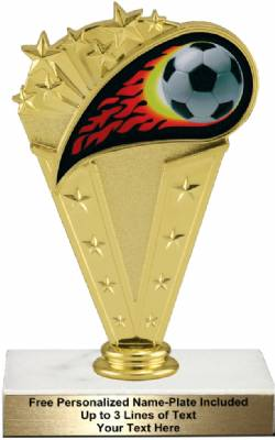 "6 3/4"" Colored Flame Soccer Trophy Kit"