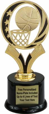 "6 3/4"" Basketball MidNite Star Trophy Kit with Pedestal Base"